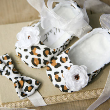 White leopard / cheetah / animal print baby ballerina shoes and matching headband and paci clip. Leopard baby shower gift