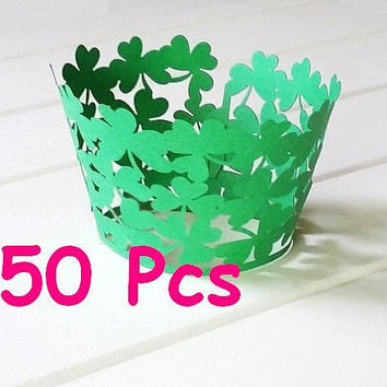Clover Cupcake Wrappers Stencil lucky plants laser cut wrapper Garden Green grass lace wrapper handmade cake wrapper party cake ornament