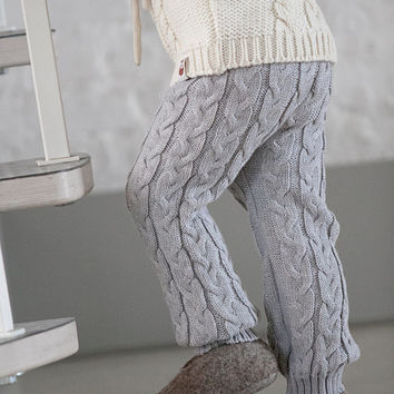 Baby leggings Toddler Boy Girl leggings Knit cable leggings Knitted pants Wool Longies Child leggings