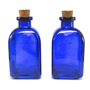 2 Blue Glass Bottles with Corks, 250ML 8.5 ounce, Cobalt Reed Diffuser Bottle, Terrarium, Bath Salt, Spices, Candy Jar, Roma Glass Container