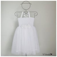 Girls  Tule Dress - Girls white Tule Dress,   white satin ribbon flowers
