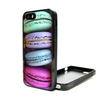 iPhone 5C Case Macaroon Colorful Cute Teen Girls Cover TPU Rubber Silicone Black