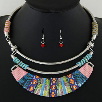 Boutique Jewelry Sets For Women Vintage Indian Turkish Jewelry Set African Beads Statement Chunky Necklace Earrings Set Jewelry