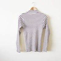90s Calvin Klein Shirt / Ribbed Mockneck Shirt / Striped Shirt /  Long Sleeve Mock Neck Shirt