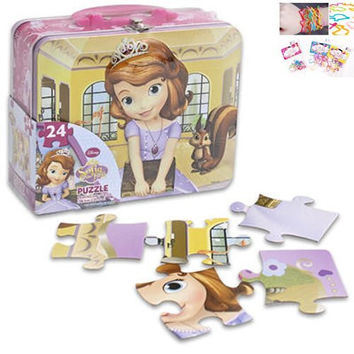 "2 Item Bundle: Disney Sofia the First Lunch Box (6.2""x7.5"" Tin) with 24-piece Sofial Puzzle Inside (15""x11.25"") Inside, and 12-pack Silicone Bracelets in Animal Shapes"