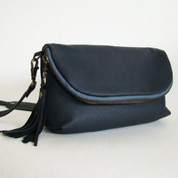 SALE // Slate Grey Leather 3-in-1, small cross-body bag, clutch, or large wallet, ready to ship