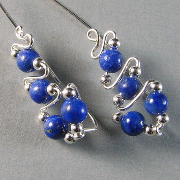Ear Pins Sweeps Vines Sterling Silver and Lapis by WireYourWorld