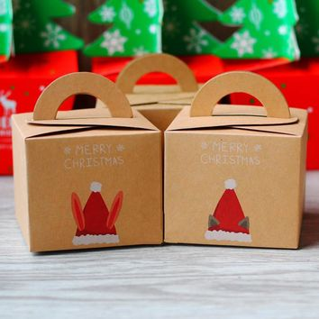 Kraft Paper Gift Box Christmas Santa Claus Gift Packing Handheld Small Candy Box Party and Festival 15.5 * 9.7 * 6cm