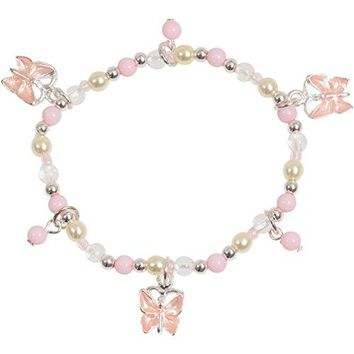 AUGUAU Little Girl Pink Pretty Butterfly Bead Stretch Bracelet in Silver Tone and Enamel