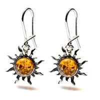 Amber Sterling Silver Romantic Sun Small Earrings