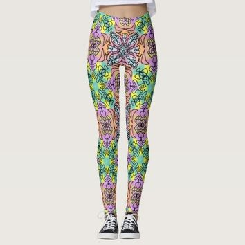 Tie Dye Spray Paint Mandala Repeat Seamless Hippie Leggings