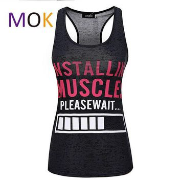ICIKHY9 Installing Muscles Please Wait. Funny women's workout tank top. Burnout tank.Lifting Shirt. Workout clothing. Fitness apparel