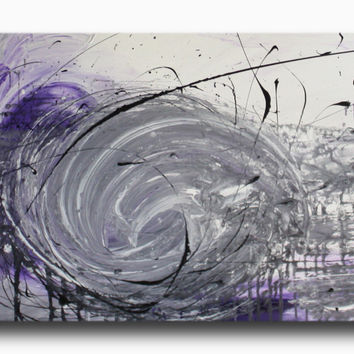 Abstract art canvas painting  grey black purple 150cm x 50cm