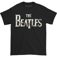 Beatles Men's  Distressed Logo T-shirt Black