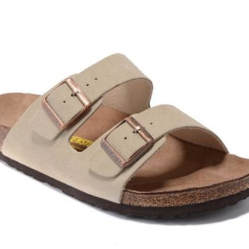 Men's and Women's BIRKENSTOCK sandals Arizona Soft Footbed Suede Leather 632632288-008
