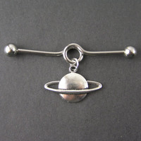 Planet Saturn Industrial Bar Barbell Piercing 14g Scaffold, Celestial, Outer Space, Cosplay Body Jewelry