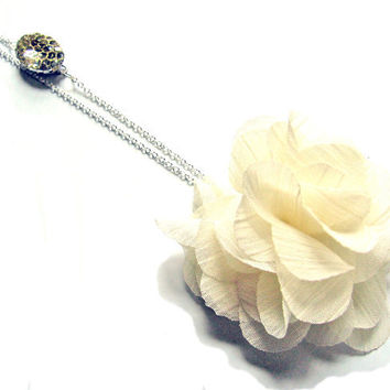 Creamy White Tulle Flower and Rhinestone Sterling by SovereignSea