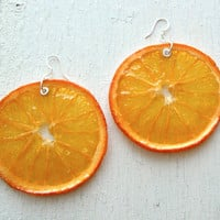 Real Orange Earrings - Fruit Jewelry