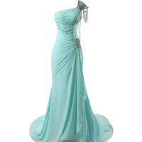Winey Bridal Beaded Shiny One-shoulder Aqua Long Prom Evening Dresses (Free Custom Made Give us details by Email, Picture Aqua Color)
