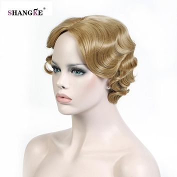 SHANGKE Short Curly Synthetic Wigs For Black Women Black African American Wigs Women Heat Resistant Hair