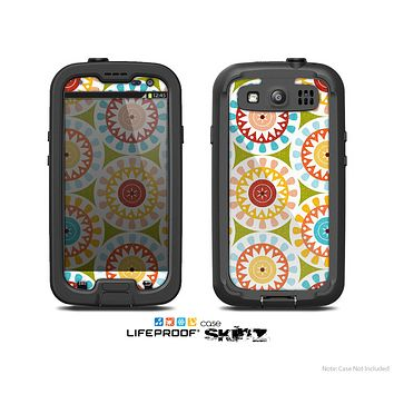 The Vintage Vector Color Circle Pattern Skin For The Samsung Galaxy S3 LifeProof Case