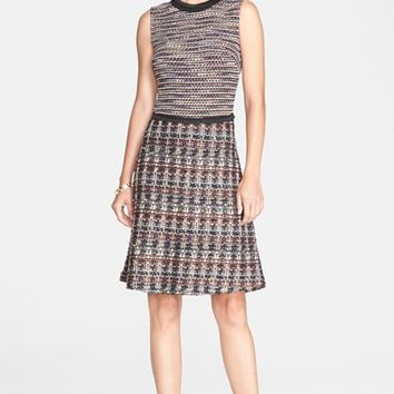 Women's St. John Collection Opulent Tweed Knit Dress with Inlay Knit Bodice