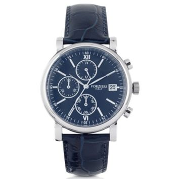 Forzieri Designer Men's Watches Berlino Silver Tone Stainless Steel Case and Genuine Embossed Leather Men's Chrono Watch