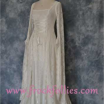 "Medieval Wedding Dress, Renaissance Gown, Elvish Wedding Dress, Robe Medievale, Pre Raphaelite Dress, Hand Fasting Dress, ""Dora""."