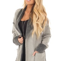 Heather Grey Cardigan with Super Soft Charcoal Lining