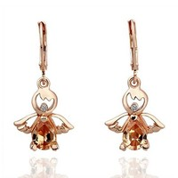 ZLYC Woman Girls Fashion 18K Gold Plated Alloy Dangle Earrings Hoop Earrings Angel