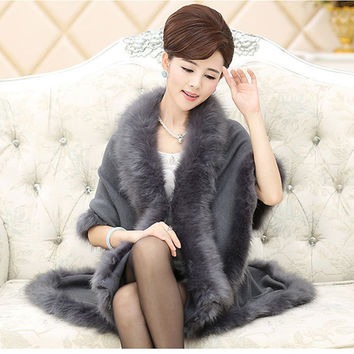 2016 Spring Autumn Winter Women Long Cardigans Fake Fox Fur Collar femal Cashmere Sweaters Shawl Knitted Cardigan Poncho