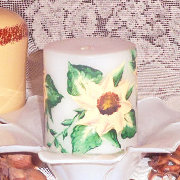 Cottage Chic Decor, Hand Painted Candle, Sunflower Art ,  Boho Chic Decor, Pillar Candle, Trending Now Home Decor, Gift Candle