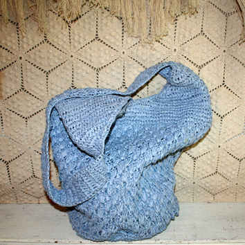Sky Blue Purse Crochet Purse Slouchy Boho Purse Hippie Purse Day Purse Long Strap Shoulder Bag Beach Tote Straw Sisal Summer Beach Purse