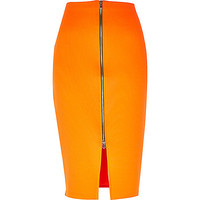 River Island Womens Bright orange zip front pencil skirt