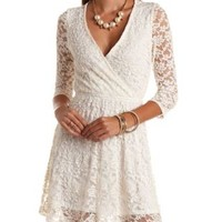 Embroidered Back Surplice Lace Dress by Charlotte Russe
