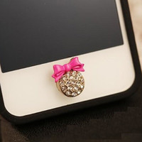 Lovely cute crystal rhinestones diamond bling red pink buttery bow phone home return key button sticker for iPhone Samsung Sony