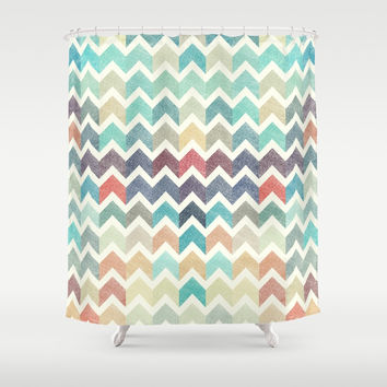 Glitter Chevron IV Shower Curtain by uniqued
