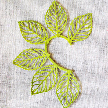 Ear cuffs, handpainted leaves. Boho style, hangs over the ear
