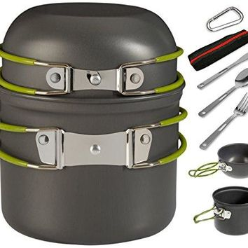 Camping Cookware Mess Kit includes 2 Nonstick Pots with Folding Handles Spoon Fork Knife Carabiner and Mesh Travel Bag – Portable Camp Kitchen Backpacking Gear for Camping Hiking Outdoors- 9 Pc Set