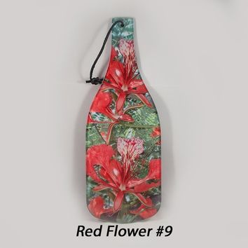 Red African Flower Cutting Board, Glass Cheese Board