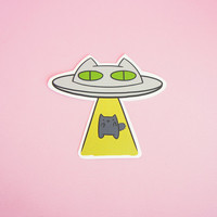 Alien Abduction Cat • Hand Cut Sticker