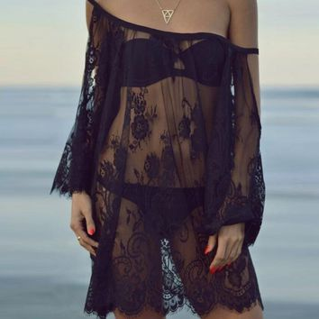 Women Summer Beach Dress Sexy Strap Sheer Floral Lace Embroidered Crochet Ladies See Through Vestidos Dresses