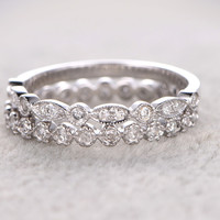 Diamond Wedding Set Marquise Bridal Ring 14k White Gold Half Eternity Milgrain Matching bandBand