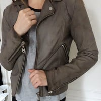 DOMA SIENNA Gray Leather Motorcycle Jacket Women Size S Feels Like M