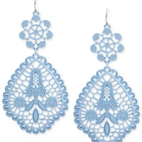 Haskell Silver-Tone Periwinkle Filigree Double Drop Earrings
