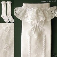 Sweet Gothic Lolita VICTORIAN DOLL LACE GiRL SIZE SOCKS