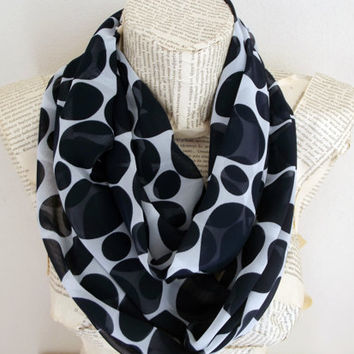 Dark Blue Polka Dots Infinity Scarf White and  Navy Blue, Gift Ideas For Her Women Fashion Accessories Christmas Gift