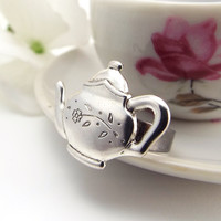 Teapot Ring with Flower Accent