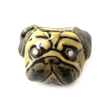 Pug Dog Shaped Enamel Animal Ring in US Size 6.5 | Limited Edition