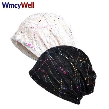 WmcyWell 2 PCs Summer Trendy Women Sparkling Sequined Classic Floral Printed Casual Elastic Lace Skullies & Beanies Hat Turban
